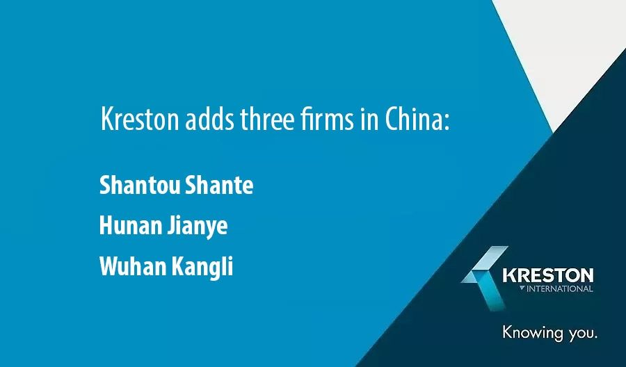 Kreston adds three firms in China: Shantou Shante, Hunan Jianye, Wuhan Kangli