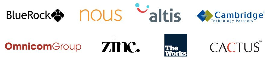The Blue Rock, The Nous Group, Altis, Cambridge Technology Partners, Omnicom, Zinc, The Works and Cactus Communications