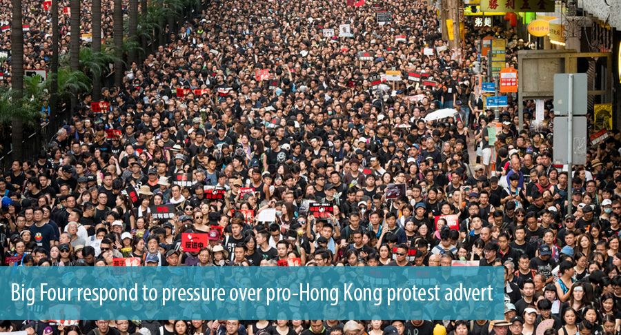 Big Four respond to pressure over pro-Hong Kong protest advert