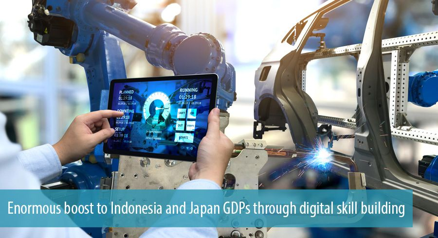 Enormous boost to Indonesia and Japan GDPs through digital skill building